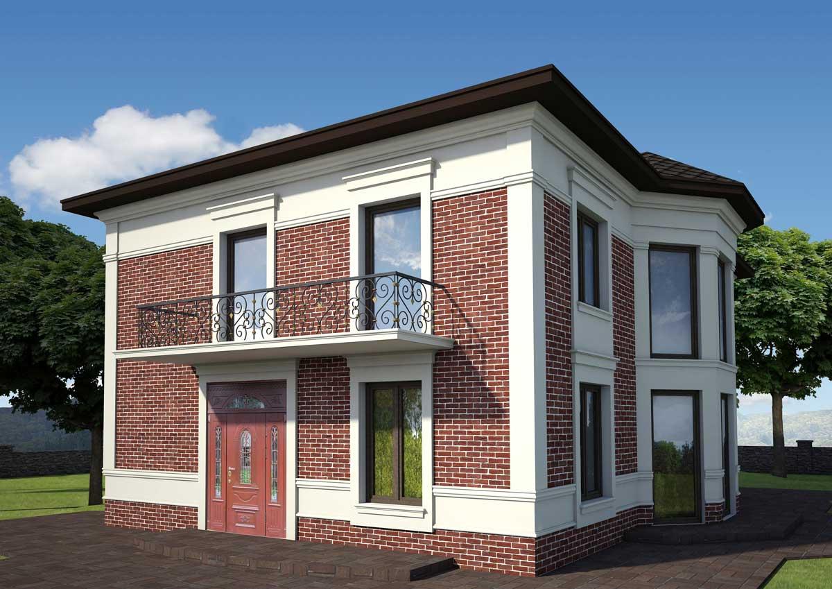 Цена проекта фасада дома при средней сложности наполнения декором