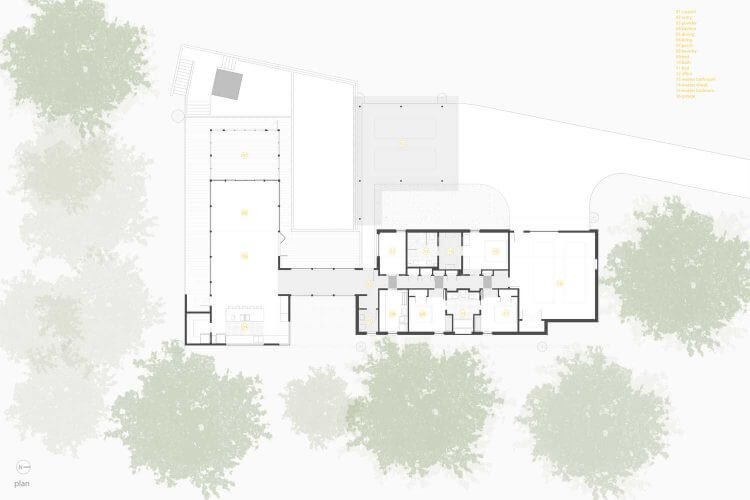 Projects of one-story houses with a garage and a terrace