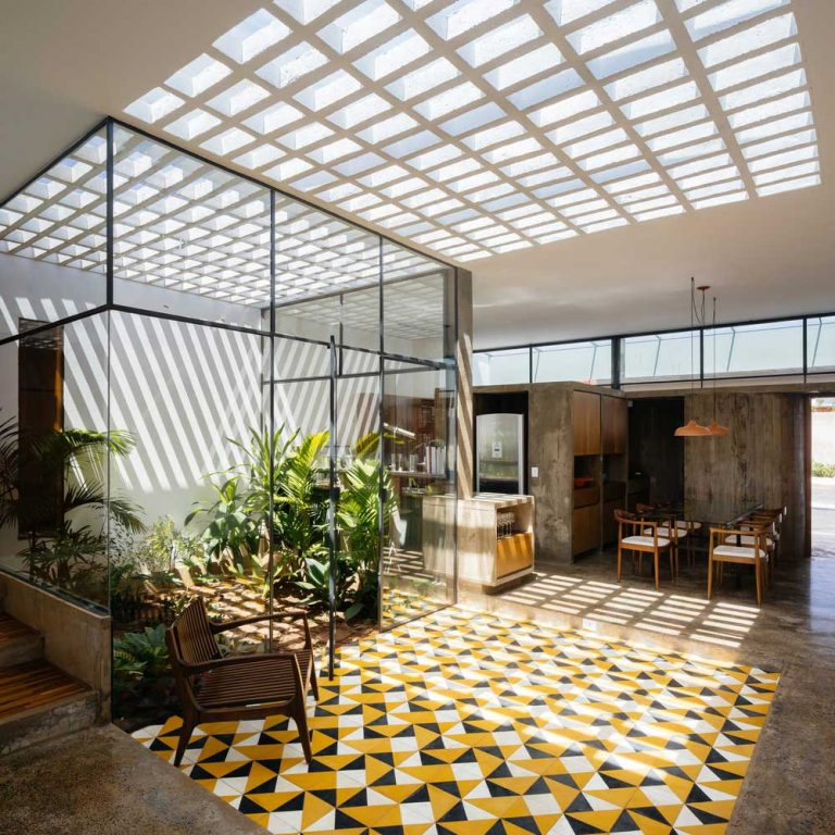 Fashionable idea of a perforated concrete ceiling