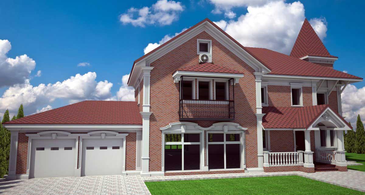 Фасады кирпичных домов фото
