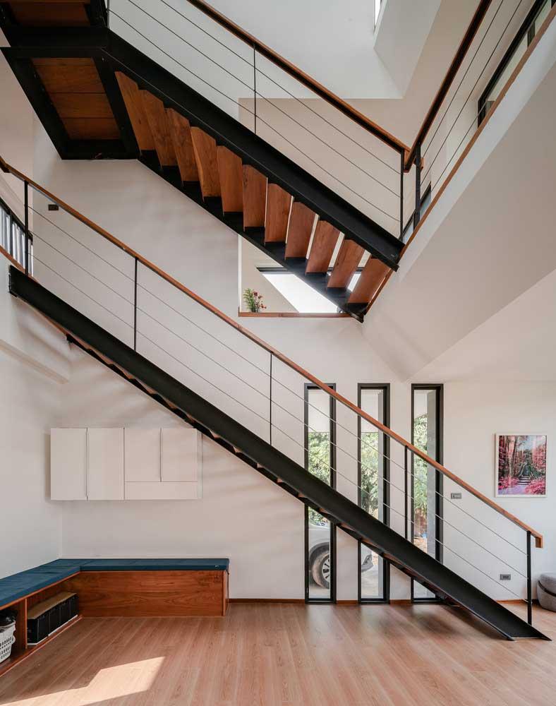 metal wood stairs