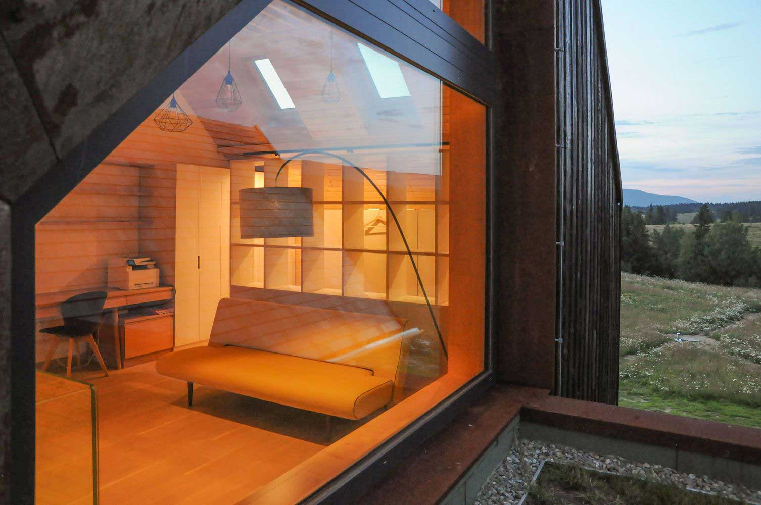 House Style with Panoramic Windows photo, design, ideas, plan, layout, facade, exterior, interior, landscape, courtyard, decoration, cladding