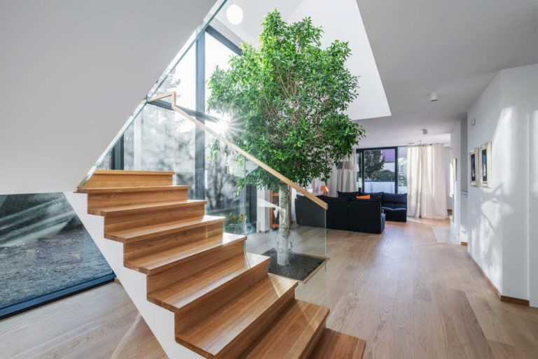 contemporary wood stairs