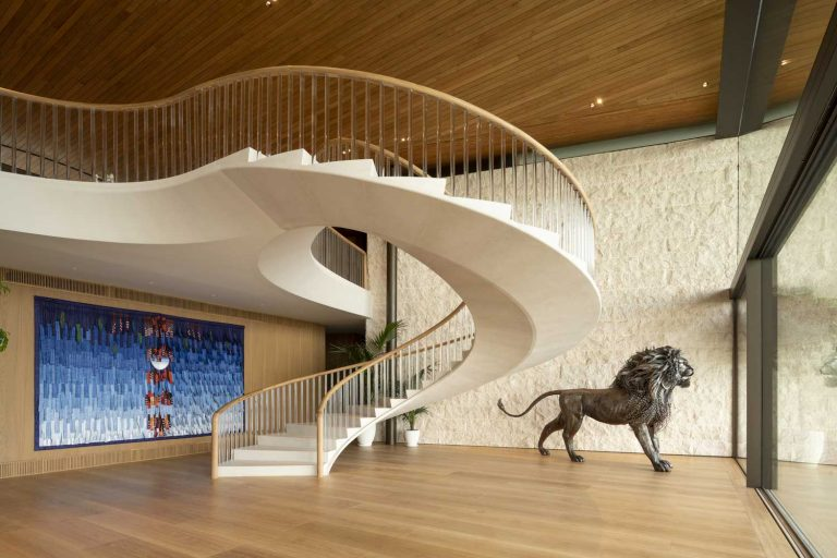 curved concrete stairs