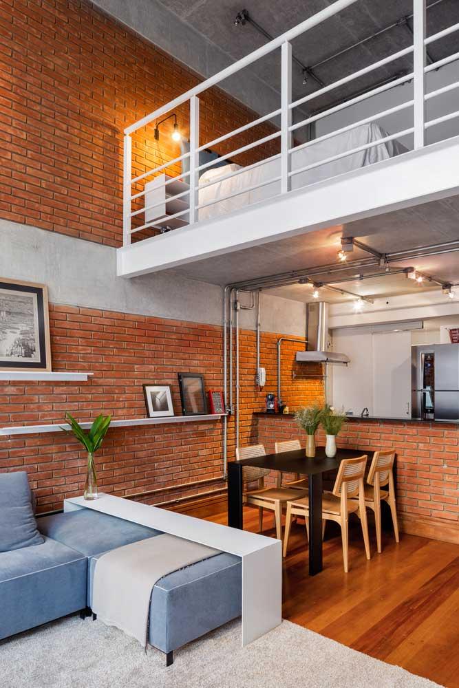 Pared de Ladrillo en Estilo Loft Como Base del Interior del Apartamento