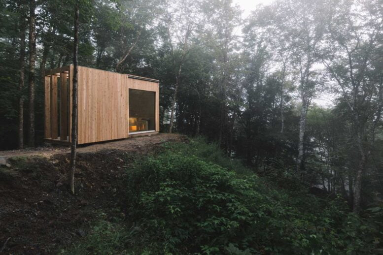 wooden house with panoramic windows: images