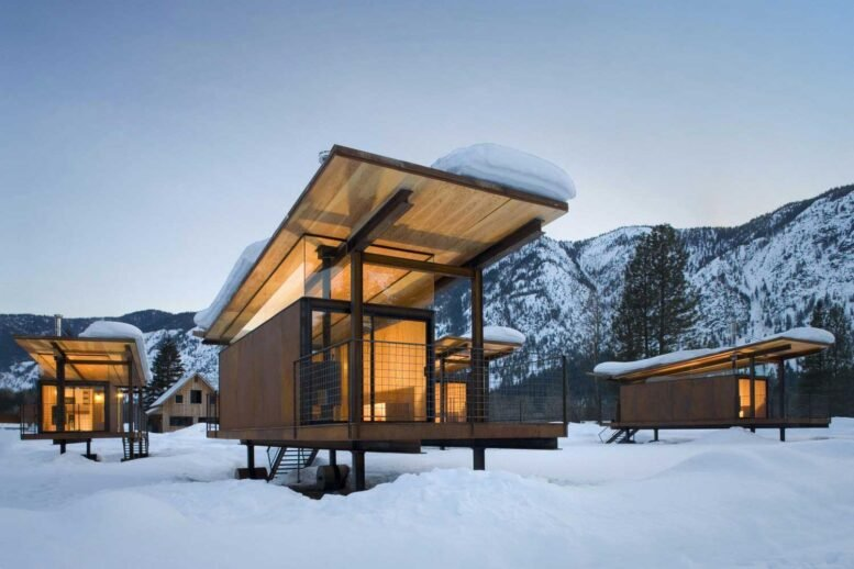 mobile home on wheels in winter