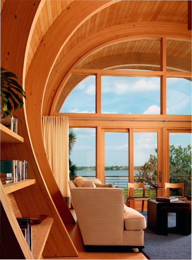 eine einzigartige Idee für die Gestaltung eines Wohnzimmers eines Holzhauses